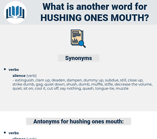 hushing ones mouth, synonym hushing ones mouth, another word for hushing ones mouth, words like hushing ones mouth, thesaurus hushing ones mouth
