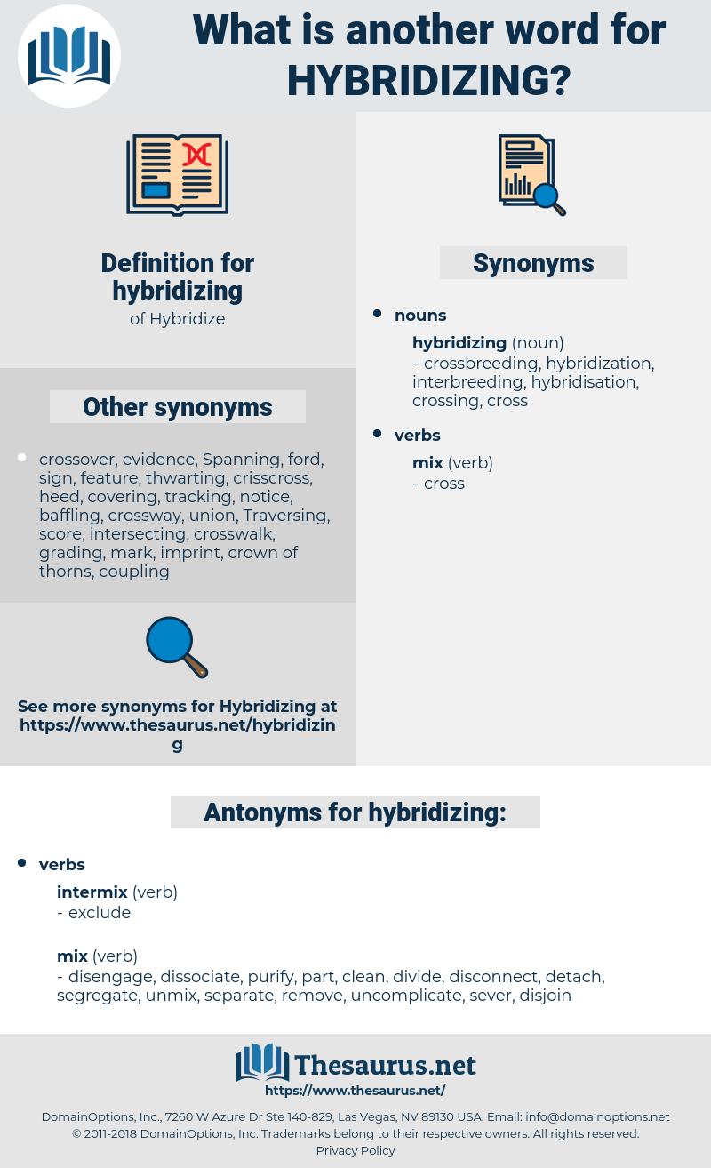 hybridizing, synonym hybridizing, another word for hybridizing, words like hybridizing, thesaurus hybridizing