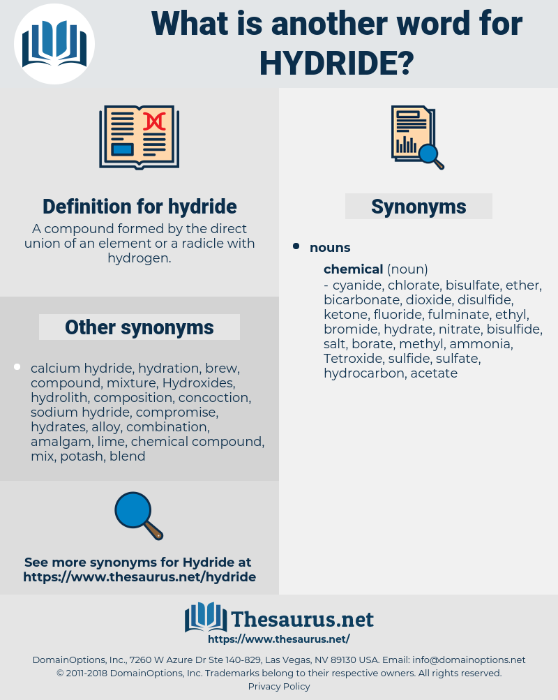 hydride, synonym hydride, another word for hydride, words like hydride, thesaurus hydride