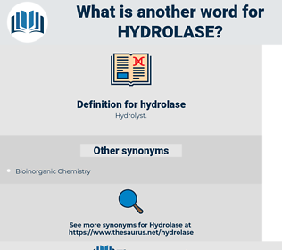 hydrolase, synonym hydrolase, another word for hydrolase, words like hydrolase, thesaurus hydrolase