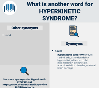 hyperkinetic syndrome, synonym hyperkinetic syndrome, another word for hyperkinetic syndrome, words like hyperkinetic syndrome, thesaurus hyperkinetic syndrome