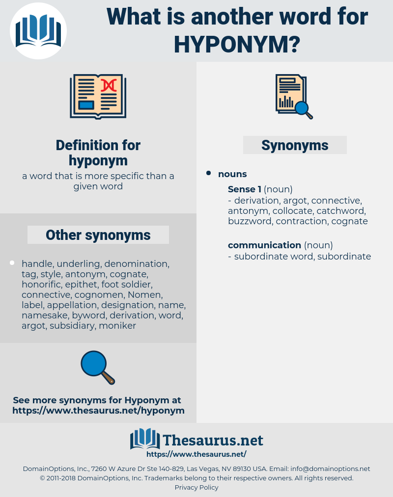 hyponym, synonym hyponym, another word for hyponym, words like hyponym, thesaurus hyponym