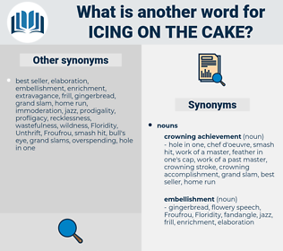icing on the cake, synonym icing on the cake, another word for icing on the cake, words like icing on the cake, thesaurus icing on the cake