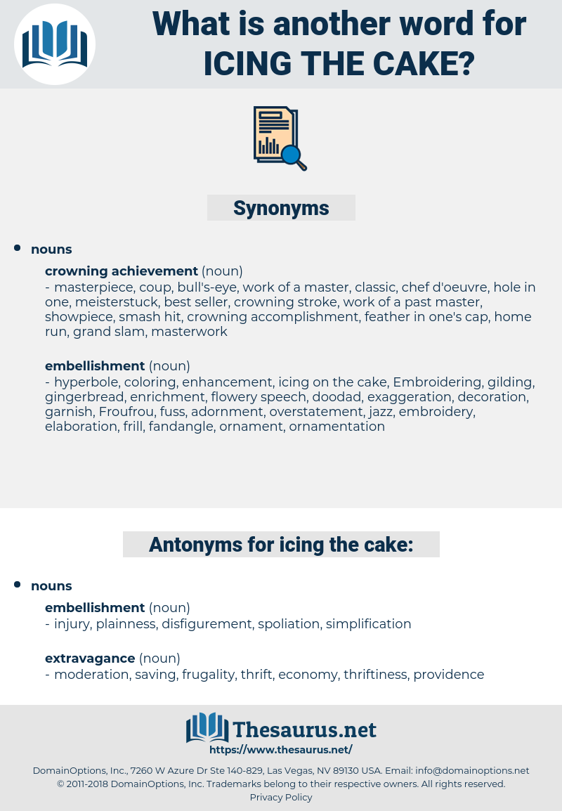 icing the cake, synonym icing the cake, another word for icing the cake, words like icing the cake, thesaurus icing the cake