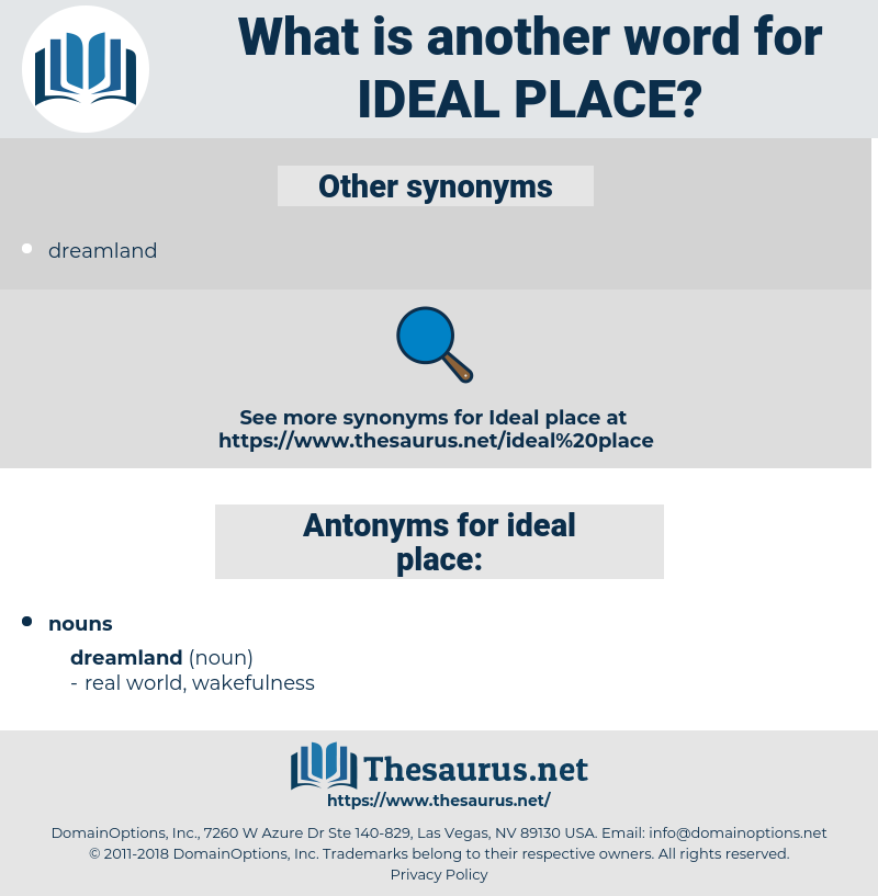Synonyms for IDEAL PLACE, Antonyms for IDEAL PLACE - Thesaurus.net