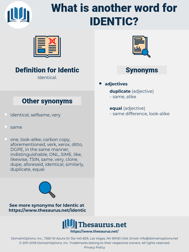 Identic, synonym Identic, another word for Identic, words like Identic, thesaurus Identic