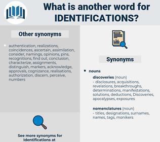 identifications, synonym identifications, another word for identifications, words like identifications, thesaurus identifications