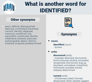 identified, synonym identified, another word for identified, words like identified, thesaurus identified