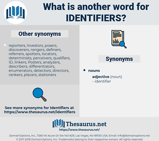 identifiers, synonym identifiers, another word for identifiers, words like identifiers, thesaurus identifiers