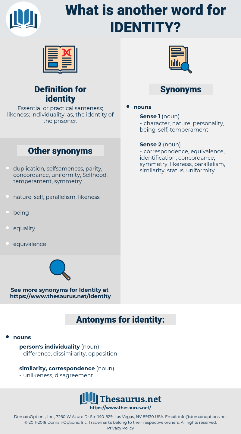 identity, synonym identity, another word for identity, words like identity, thesaurus identity