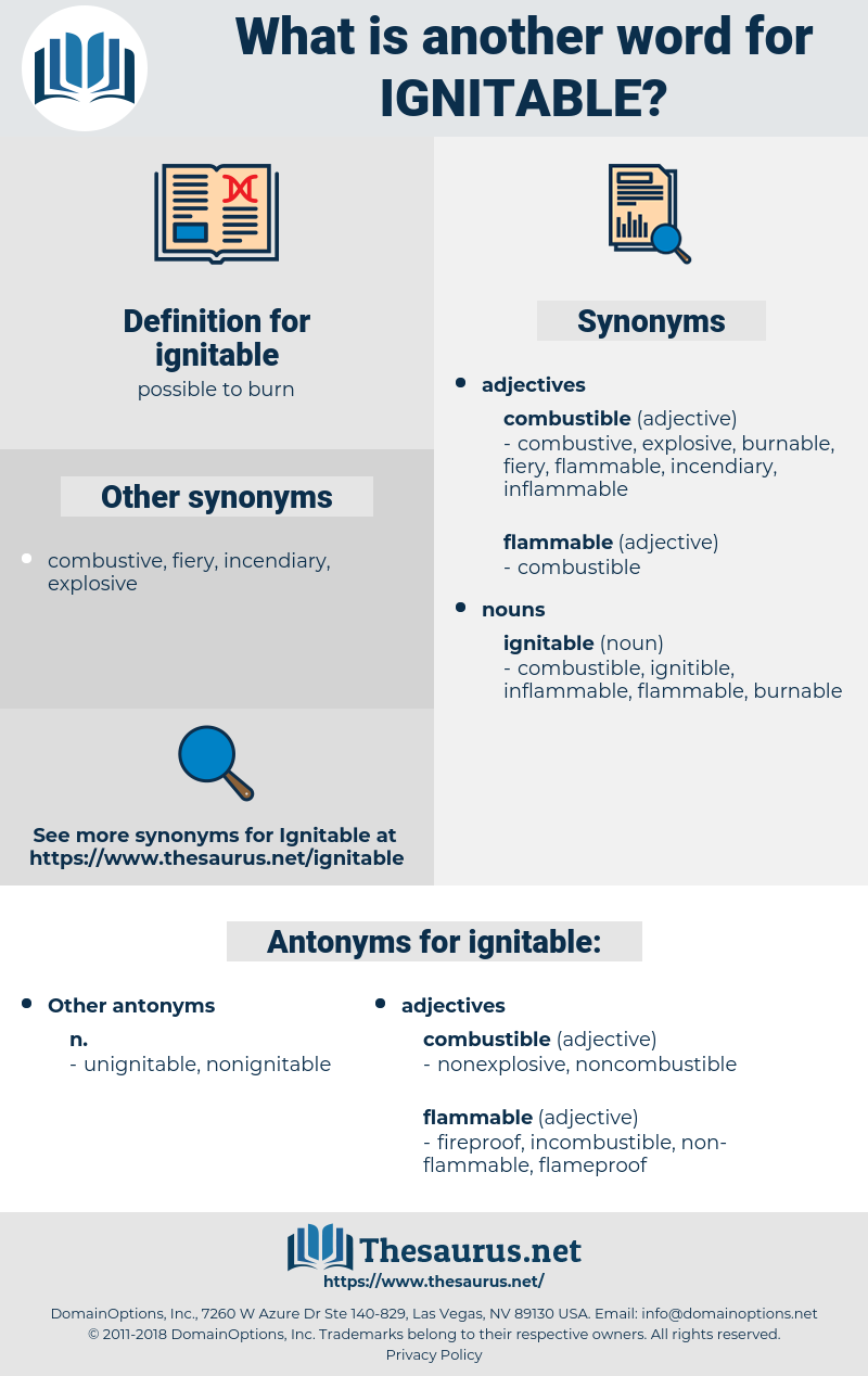 ignitable, synonym ignitable, another word for ignitable, words like ignitable, thesaurus ignitable