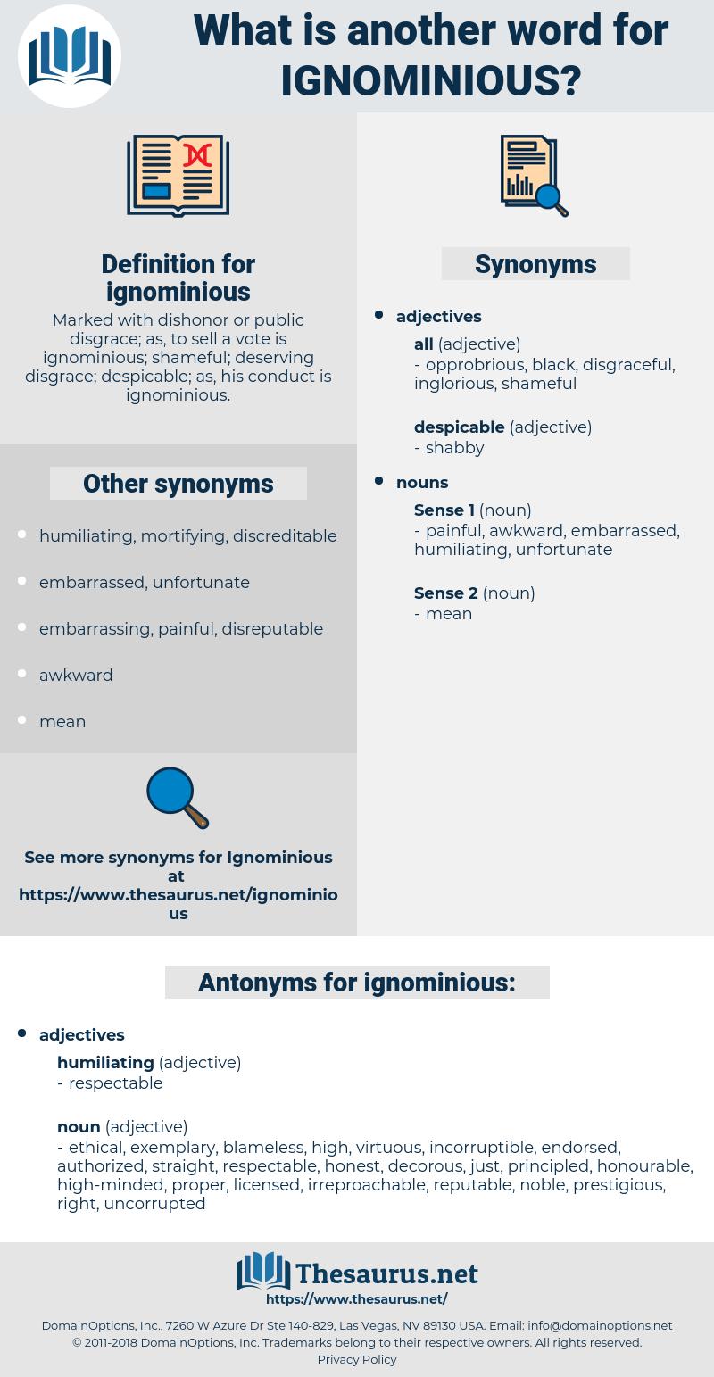ignominious, synonym ignominious, another word for ignominious, words like ignominious, thesaurus ignominious