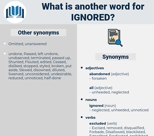 ignored, synonym ignored, another word for ignored, words like ignored, thesaurus ignored