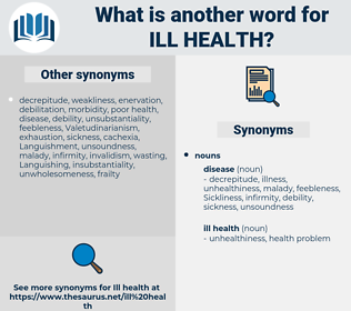 ill health, synonym ill health, another word for ill health, words like ill health, thesaurus ill health