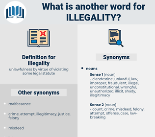 illegality, synonym illegality, another word for illegality, words like illegality, thesaurus illegality