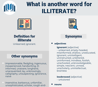 illiterate, synonym illiterate, another word for illiterate, words like illiterate, thesaurus illiterate