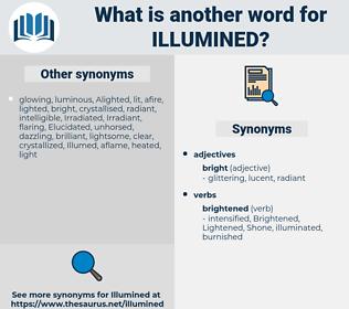 illumined, synonym illumined, another word for illumined, words like illumined, thesaurus illumined