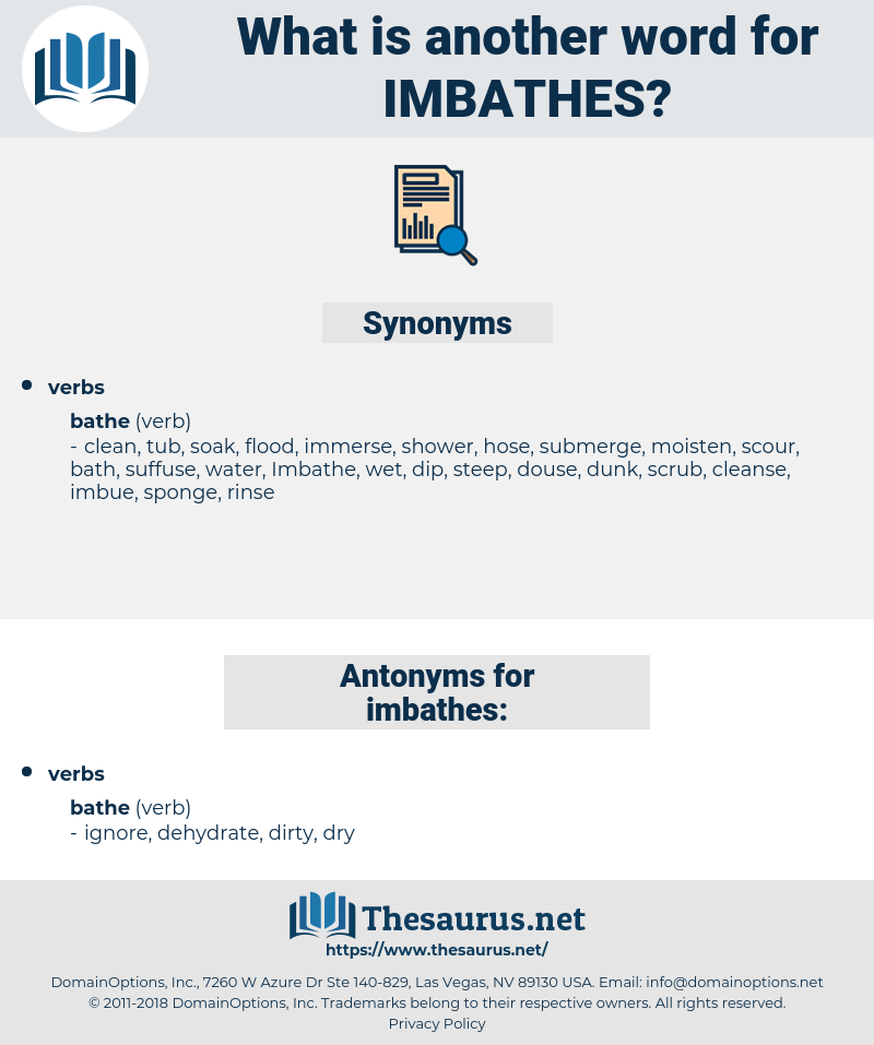 imbathes, synonym imbathes, another word for imbathes, words like imbathes, thesaurus imbathes