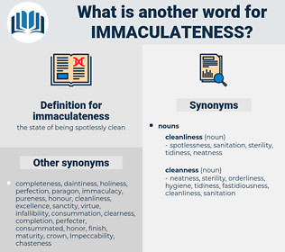 immaculateness, synonym immaculateness, another word for immaculateness, words like immaculateness, thesaurus immaculateness
