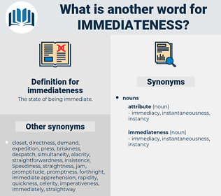 immediateness, synonym immediateness, another word for immediateness, words like immediateness, thesaurus immediateness