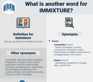 Immixture, synonym Immixture, another word for Immixture, words like Immixture, thesaurus Immixture
