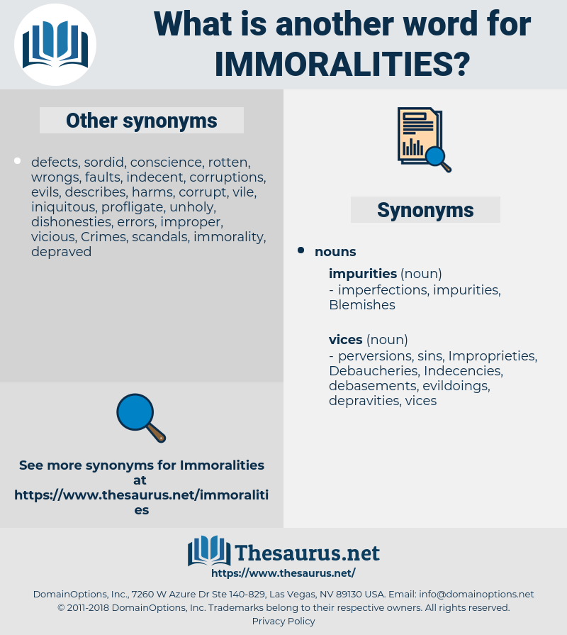Immoralities, synonym Immoralities, another word for Immoralities, words like Immoralities, thesaurus Immoralities