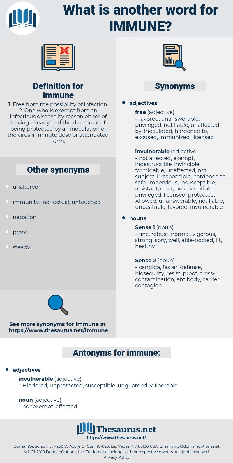 immune, synonym immune, another word for immune, words like immune, thesaurus immune