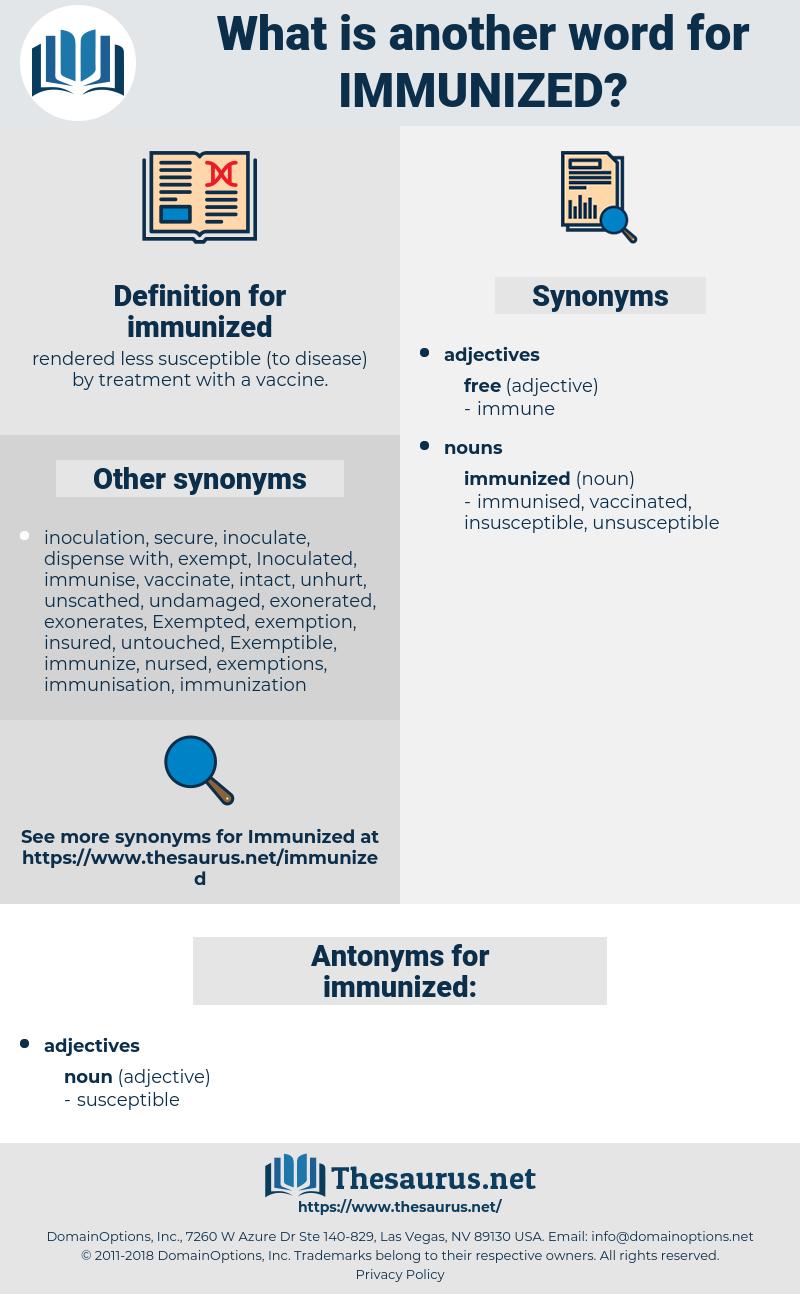 immunized, synonym immunized, another word for immunized, words like immunized, thesaurus immunized
