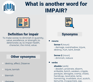 Synonyms for IMPAIR, Antonyms for IMPAIR - Thesaurus net