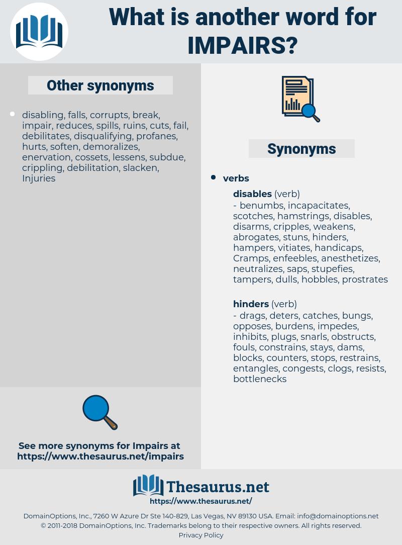 impairs, synonym impairs, another word for impairs, words like impairs, thesaurus impairs