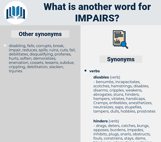 impairs, synonym impairs, another word for impairs, words like impairs, thesaurus impairs
