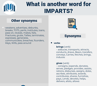 imparts, synonym imparts, another word for imparts, words like imparts, thesaurus imparts