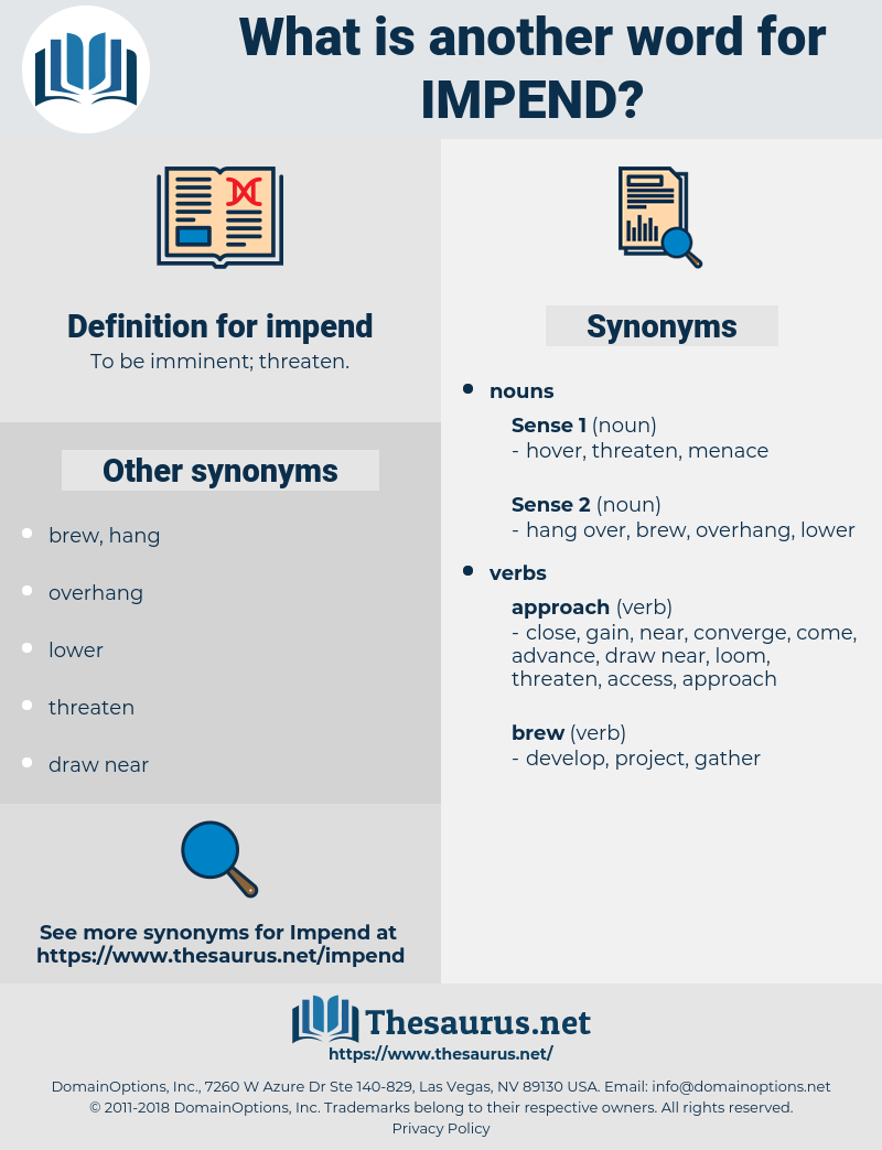 impend, synonym impend, another word for impend, words like impend, thesaurus impend