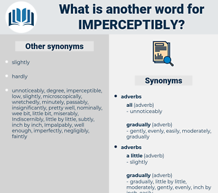 imperceptibly, synonym imperceptibly, another word for imperceptibly, words like imperceptibly, thesaurus imperceptibly