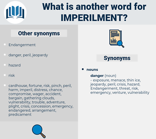 Imperilment, synonym Imperilment, another word for Imperilment, words like Imperilment, thesaurus Imperilment
