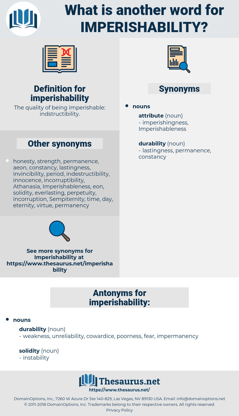 imperishability, synonym imperishability, another word for imperishability, words like imperishability, thesaurus imperishability