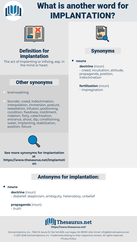 implantation, synonym implantation, another word for implantation, words like implantation, thesaurus implantation