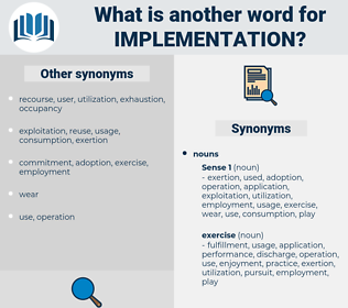 implementation, synonym implementation, another word for implementation, words like implementation, thesaurus implementation