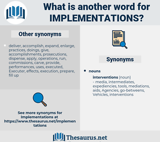 implementations, synonym implementations, another word for implementations, words like implementations, thesaurus implementations