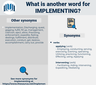 implementing, synonym implementing, another word for implementing, words like implementing, thesaurus implementing