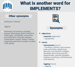 implements, synonym implements, another word for implements, words like implements, thesaurus implements