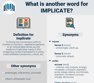 implicate, synonym implicate, another word for implicate, words like implicate, thesaurus implicate