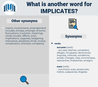 implicates, synonym implicates, another word for implicates, words like implicates, thesaurus implicates