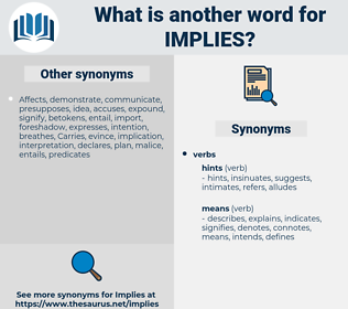 implies, synonym implies, another word for implies, words like implies, thesaurus implies
