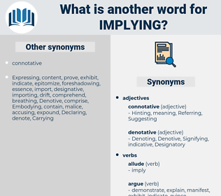 Implying, synonym Implying, another word for Implying, words like Implying, thesaurus Implying
