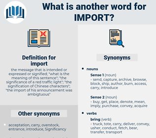 import, synonym import, another word for import, words like import, thesaurus import