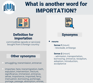 importation, synonym importation, another word for importation, words like importation, thesaurus importation
