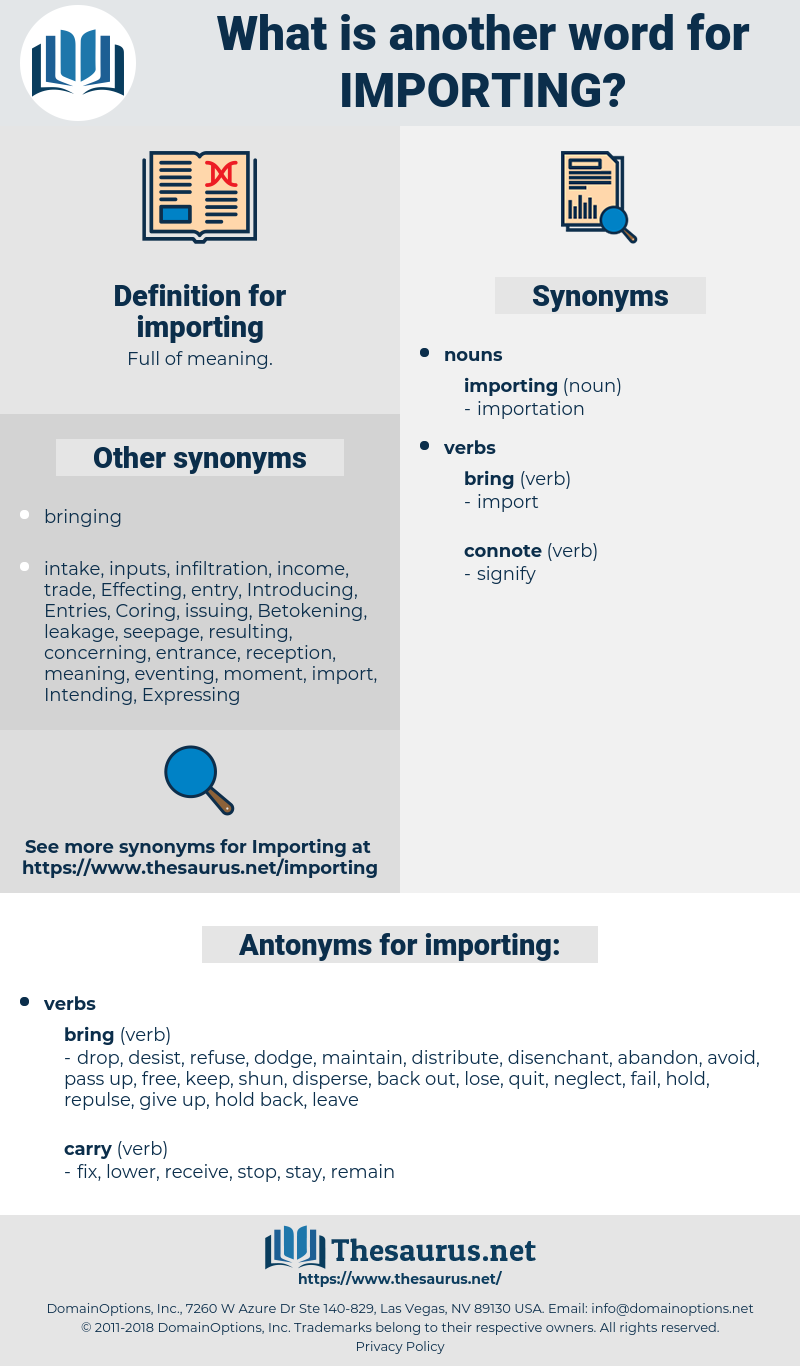 importing, synonym importing, another word for importing, words like importing, thesaurus importing