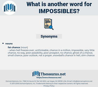 impossibles, synonym impossibles, another word for impossibles, words like impossibles, thesaurus impossibles