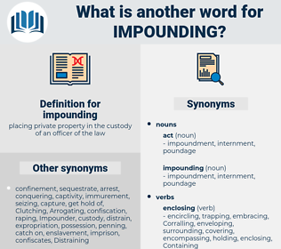 impounding, synonym impounding, another word for impounding, words like impounding, thesaurus impounding
